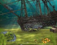 Mermaid treasures. Sunken ship in the ocean with mermaid treasures vector illustration