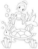 The mermaid and the turtle coloring page Stock Photos