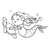 Mermaid and turtle contour illustration. Vector coloring book page.  stock illustration