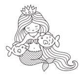 Mermaid with two big fish. stock illustration