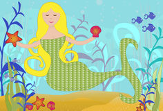 Mermaid under the Sea. Detailed illustration of a Mermaid under the Sea with fish, starfish, clams, plant life near the ocean floor Stock Image
