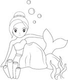 Mermaid under the sea coloring page. Useful as coloring book for kids Stock Photos