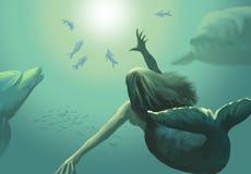 Mermaid. Under the sea digital painting Stock Image