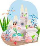 Mermaid and underwater castle Royalty Free Stock Photography