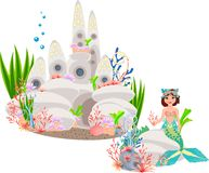 Mermaid and underwater castle Royalty Free Stock Photos