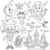 Mermaid, underwater castle and sea animals. Fish, starfish, seahorse, crab, crovn Stock Photo