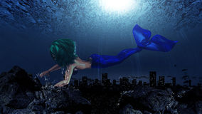 Mermaid in underwater world Stock Photo