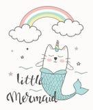 Mermaid unicorn cat vector illustration with little mermaid lettering