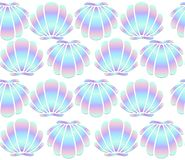 Holographic seashells seamless pattern on white background. Mermaid vector background stock illustration
