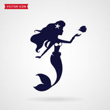 Mermaid vector design element. Mermaid with fish. Vector design element on white background Royalty Free Stock Photo