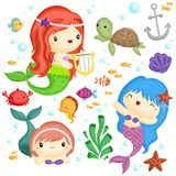 Mermaid Vector Set. A mermaid vector set with many animal Stock Images