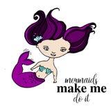 Mermaid with violet hair and seashells poster. Cute summer fantasy fairy tail marine  personprint. Cool baby decoratio. Mermaid with violet hair and seashells Royalty Free Stock Photography