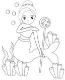 Mermaid with a wand coloring page Royalty Free Stock Photography