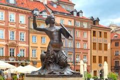 Mermaid of Warsaw at the Market Square, Poland. royalty free stock image