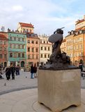 Mermaid from Warsaw. Statue of Mermaid, symbol of the fighting capital of Poland in the Old Town in Warsaw royalty free stock photos