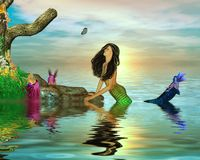 Mermaid Watching a Butterfly Stock Images