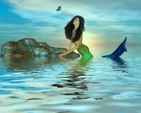Mermaid Watching a Butterfly Stock Photography