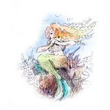 Mermaid watercolor Stock Photos