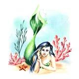 mermaid Waterverfhand getrokken die illustratie op witte achtergrond wordt geïsoleerd vector illustratie