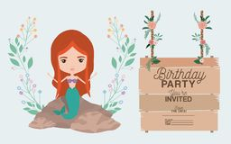 Free Mermaid With Wooden Label Invitation Card Royalty Free Stock Images - 115162279
