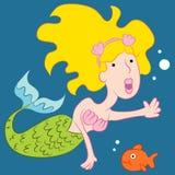 Mermaid Woman and Fish Royalty Free Stock Image