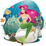 Mermaid World. Vector illustration of a mermaid and her underwater world, full of life and color. AI8 vector file included Stock Photography