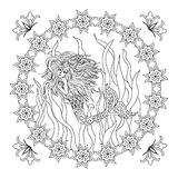 Mermaid zentangle coloring page Stock Photos