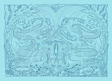 Mermaids плавая форзацы девушок сбора винограда Стоковые Фотографии RF
