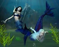 Mermaids - 2. Digital render of two mermaids in an underwater scene Royalty Free Stock Photos