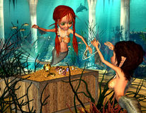 Mermaids. 3d render of two mermaids, who enjoy a treasure as illustration in the comic style Royalty Free Stock Photos