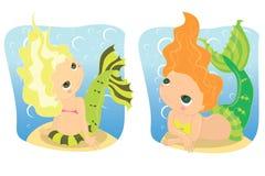 Mermaids. Two mermaids under sea bottom Stock Illustration