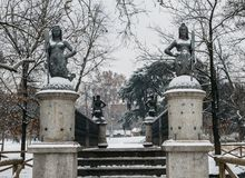 Mermaids bridge at Sempione Park in Milan, Italy. The four mermaid statues on the Ponte delle Sirenette in Milano during. The winter Royalty Free Stock Images