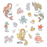 Mermaids cartoon characters with cute sea animals vector set. Mermaids cartoon characters with cute sea animals. Editable vector set Royalty Free Stock Image