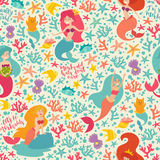 Mermaids characters vector seamless background. Flat style doodle characters. Cartoon little mermaid, shell, fish and cat. Under the sea summer pattern Royalty Free Stock Images