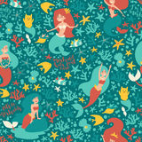 Mermaids characters vector seamless pattern. Cartoon little mermaid, shell, fish and cat. Under the sea summer card. Green colors background Stock Photography