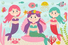 Mermaids comb and decorate their hair underwater. Vector illustration, eps Royalty Free Stock Image
