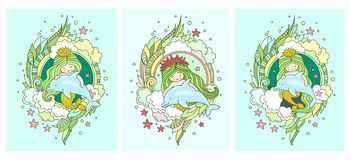 Mermaids and dolphins. Set of postacards. Under the sea. royalty free illustration