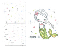 Mermaids exist. Surface design for kids and 2 seamless patterns Royalty Free Stock Image