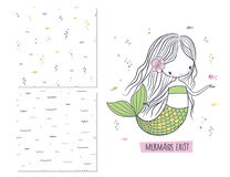 Mermaids exist. Surface design and 2 seamless patterns Royalty Free Stock Photo