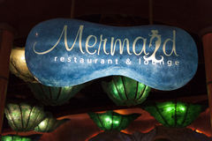 Mermaids Lounge Sign at the Silverton Hotel in Las Vegas, NV on. LAS VEGAS - AUGUST 20, 2013 - Silverton Hotel on August 20, 2013  in Las Vegas. Mermaids Royalty Free Stock Photos