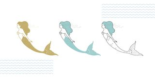 Mermaids in a modern style. Mermaids in a modern minimalist style, line art illustration Royalty Free Stock Photo