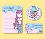 Mermaids printable sheet. Set of Mermaids printable sheet vector illustration graphic design Stock Photo