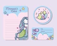 Mermaids printable sheet. Set of Mermaids printable sheet vector illustration graphic design Royalty Free Stock Image