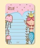 Mermaids printable sheet. Vector illustration graphic design Stock Photo