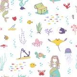 Mermaids and sea animals. Cartoon seamless pattern. On a white background Stock Photo