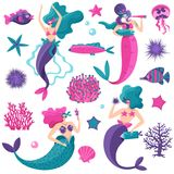 Mermaids Sea Life Set. Bright pink petrol violet fantastic sea elements set with mermaids starfish jellyfish fish coral reefs vector illustration stock illustration