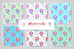 Mermaids seamless patterns Royalty Free Stock Image
