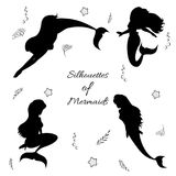 Mermaids silhouettes black Stock Photos
