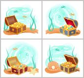 Mermaids Treasures in Chest at Bottom of Sea Set. Mermaids treasures in chest at bottom of sea. Gold coins, bright gemstones, precious jewelry and pearl in shell Royalty Free Stock Image