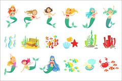 Mermaids And Underwater Nature Stickers. Cute Cartoon Childish Style Illustrations Isolated. On White Background vector illustration